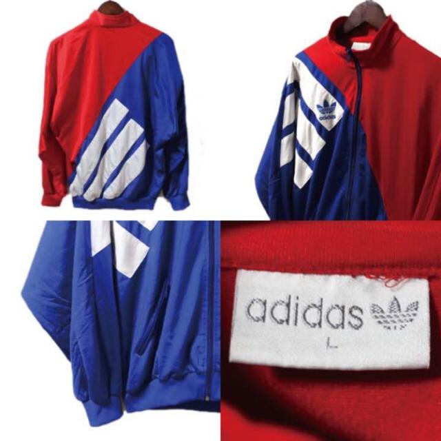 adidas(アディダス)のVintage 80's adidas トラックトップ ジャージ ロゴ 青白赤L メンズのトップス(ジャージ)の商品写真