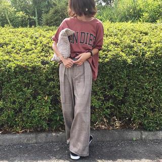 ジーユー(GU)の【ブラウン♡Sサイズ】GU ウエストリボンワイドパンツ グレンチェック(カジュアルパンツ)