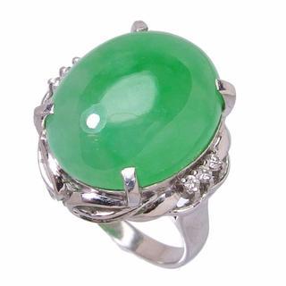 Pt900 翡翠16.50ct ダイヤモンド計0.08ct 13号 指輪(リング(指輪))