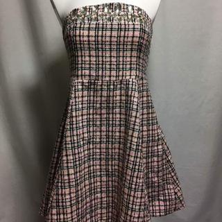 セシルマクビー(CECIL McBEE)のキャバドレス ツイードビジュー付きAラインベアワンピ(ナイトドレス)