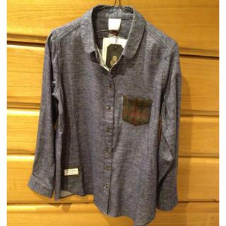 シマムラ(しまむら)の新品 しまむら ハリスツイード 丸襟シャツ ネルシャツ ブルー M(シャツ/ブラウス(長袖/七分))