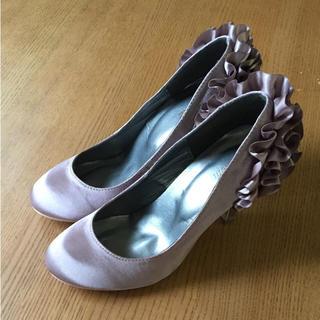 フォーマルシューズ 靴  22.5 結婚式  パーティー フリル パンプス(ハイヒール/パンプス)