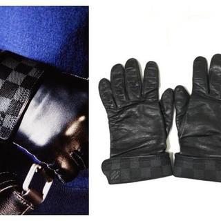 ルイヴィトン(LOUIS VUITTON)の本物ルイヴィトン ダミエグラフィット レザーグローブ (手袋)