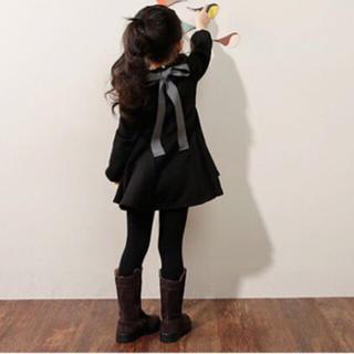 グレー 【130㎝】ワンピース ベレー帽 バックリボン 韓国 子供服 女の子(ワンピース)