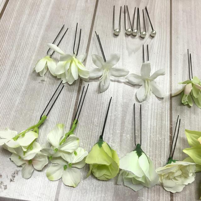 髪飾り17セット♩ダリア グリーン×ホワイト ヘッドドレス レディースの水着/浴衣(和装小物)の商品写真