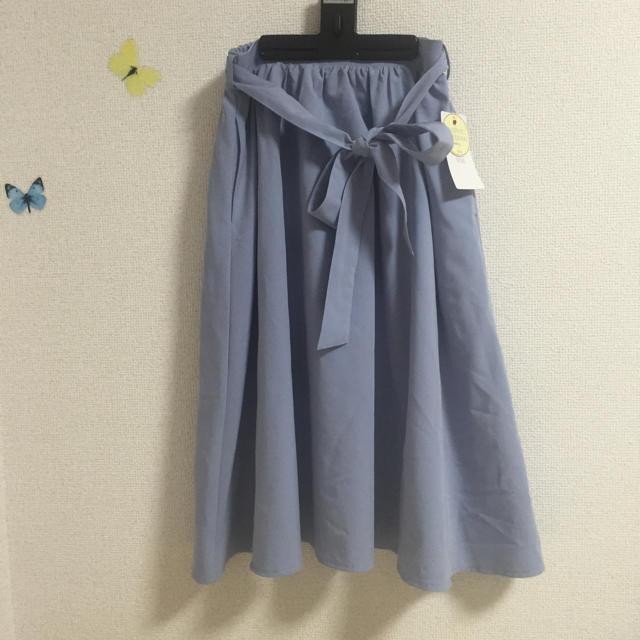 ViS(ヴィス)のvis アイスブルー スカート リボン付き レディースのスカート(ひざ丈スカート)の商品写真