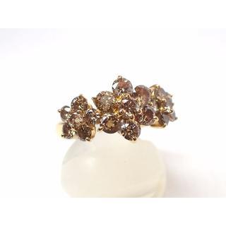 ■東大阪 マルヨ質舗■K18■人気のブラウンダイヤモンド1.5ctリング■10号(リング(指輪))