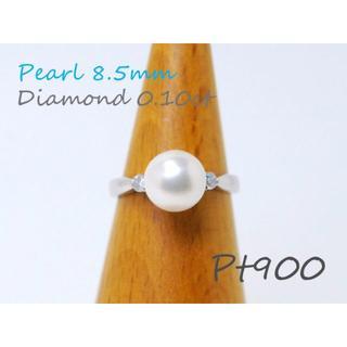 Pt900■上品なサイズ★真珠8.5mmプラチナダイヤモンドリング12号【質屋】(リング(指輪))