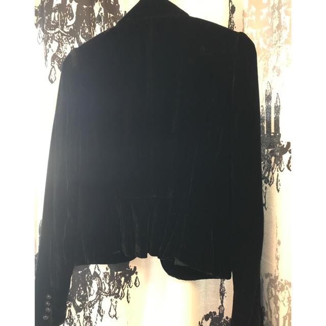 ベロア素材ショートジャケット☆ブラック、美品!サイズ 2 レディースのジャケット/アウター(テーラードジャケット)の商品写真