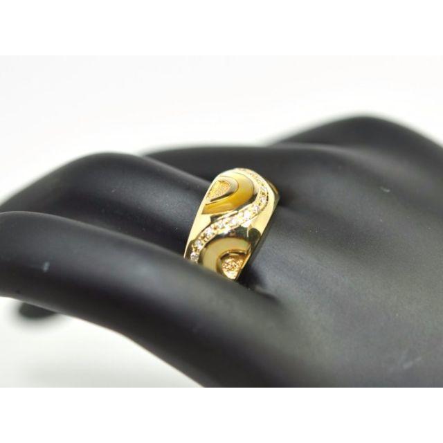K18★ゴージャス★シェルゴールドリング D:0.25ct 17号【質屋出店】 レディースのアクセサリー(リング(指輪))の商品写真