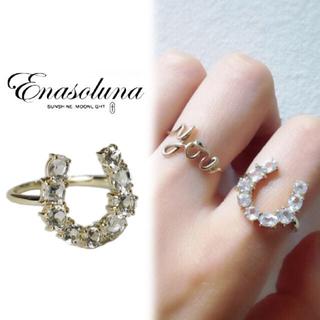 エナソルーナ(Enasoluna)のエナソルーナ♡k10yg♡ホースシューリング♡馬蹄♡ホワイトトパーズ♡箱付(リング(指輪))
