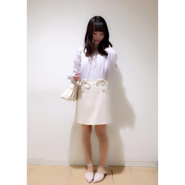 one after another NICE CLAUP(ワンアフターアナザーナイスクラップ)の♡2017SS Wレースアップスカート ネイビー デニム♡ レディースのスカート(ミニスカート)の商品写真