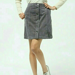 ミスティウーマン(mysty woman)のコーデュロイ台形スカート(ミニスカート)