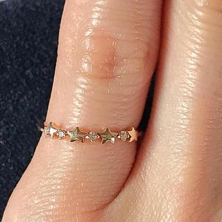 K10 イエローゴールド ダイヤモンド 0.02ct スター 星 リング(リング(指輪))