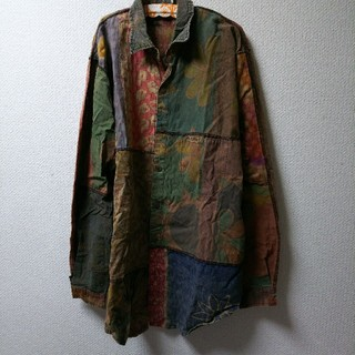 エルロデオ(EL RODEO)のエルロデオELRODEO❤️月星太陽ハートお花柄パッチワークビッグシャツ(シャツ)