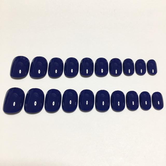10サイズ20枚セット『インクブルー』 ハンドメイドのアクセサリー(ネイルチップ)の商品写真