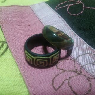 木製指輪 ガラス指輪 セット ③(リング(指輪))