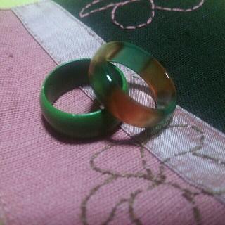 木製指輪 ガラス指輪 セット ④(リング(指輪))