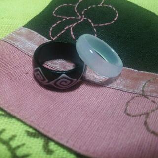 木製指輪 ガラス指輪 セット ⑩(リング(指輪))