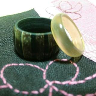 木製指輪 ガラス指輪 セット ⑯(リング(指輪))