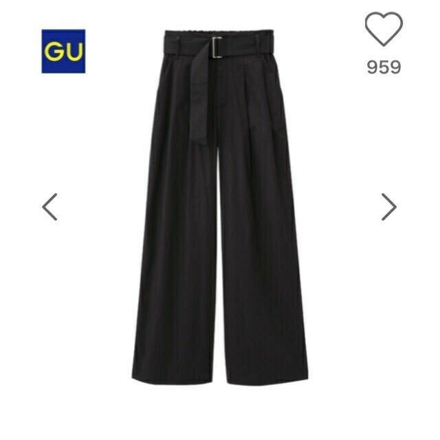 GU(ジーユー)のGUチノワイドパンツ ブラックL レディースのパンツ(チノパン)の商品写真