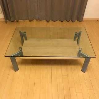 リビング センターガラステーブル 2段 オシャレ インテリア 木目 ブラウン (ローテーブル)