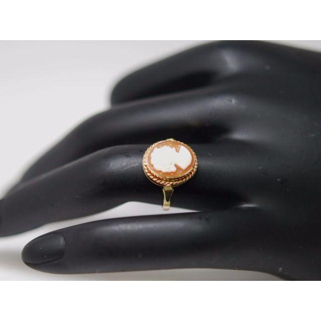 ■マルヨ質舗■K14■美しいオレンジめのうカメオリング9号【質屋出店】 レディースのアクセサリー(リング(指輪))の商品写真