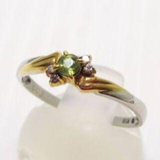 マルヨ質■Pt900/K18ペリドットリング16号Peridot/Diamond(リング(指輪))