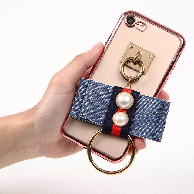 縁ローズ★デニム風リボン ネイビー×レッド&大きめリング iPhoneケース ハンドメイドのスマホケース/アクセサリー(スマホケース)の商品写真