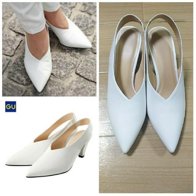 GU(ジーユー)の♡GU 新品未使用❢❢ ホワイト ポインテッドトゥ バックストラップパンプス♡ レディースの靴/シューズ(ハイヒール/パンプス)の商品写真