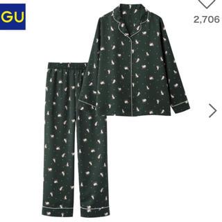 ジーユー(GU)のGUサテンパジャマ✳︎キャット緑ジェラートピケ(パジャマ)