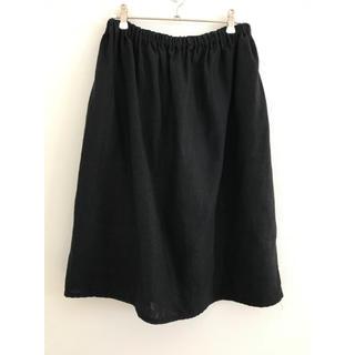 フォグリネンワーク(fog linen work)のFog linen work リネン スカート 黒(ひざ丈スカート)