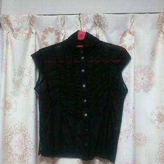 黒のシースルー トップス(シャツ/ブラウス(半袖/袖なし))