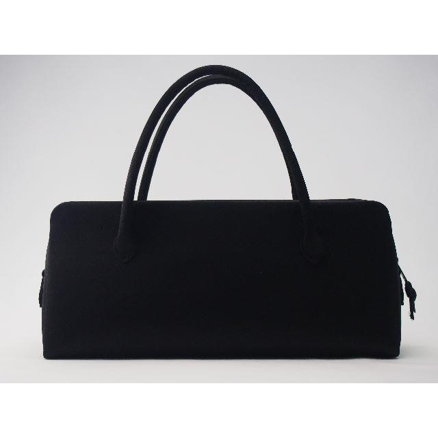 ブラックフォーマルバッグ横長(ミニボストン)両開き(ダブル)ファスナー仕様 レディースのバッグ(ボストンバッグ)の商品写真