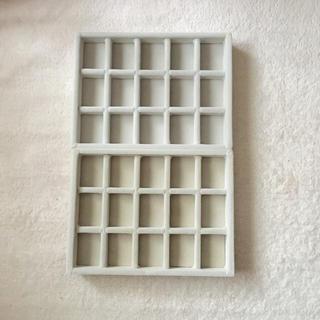 ムジルシリョウヒン(MUJI (無印良品))の無印良品 アクリルケース用・ベロア内箱仕切・格子・グレー 2個セット(小物入れ)