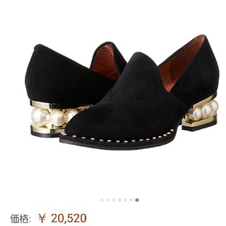 ジェフリーキャンベル(JEFFREY CAMPBELL)のパールヒール♡スエードローファー(ローファー/革靴)
