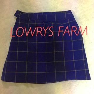 ローリーズファーム(LOWRYS FARM)のLOWRYS FARM チェック柄 台形スカートネイビー✖︎イエロー(ミニスカート)