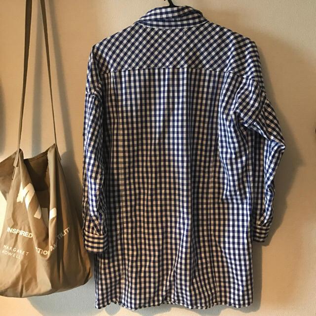 美品☆ギンガムチェックシャツ ブルー フリーサイズ レディースのトップス(シャツ/ブラウス(長袖/七分))の商品写真