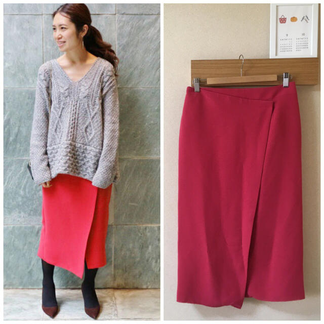 IENA(イエナ)のIENA×Naoko Tsuji  デザインラップ無地スカート レッド レディースのスカート(ひざ丈スカート)の商品写真