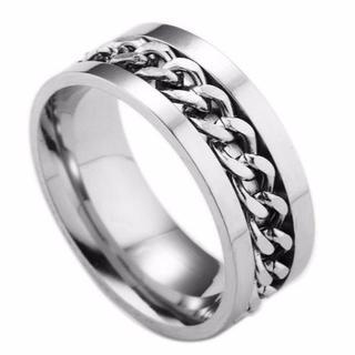 【17号】喜平チェーンチタンリング シルバー 指輪 メンズ アクセサリー シンプ(リング(指輪))