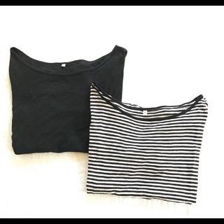 ムジルシリョウヒン(MUJI (無印良品))の無印良品 MUJI 半袖カットソー Tシャツ セット ブラック 白黒ボーダー(Tシャツ(半袖/袖なし))