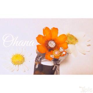 ♡真夏のオレンジ☆押し花リング💍(リング(指輪))