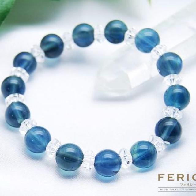 南洋の海のようなブルーグリーンフローライト×ボタンカット本水晶  ハンドメイドのアクセサリー(ブレスレット/バングル)の商品写真