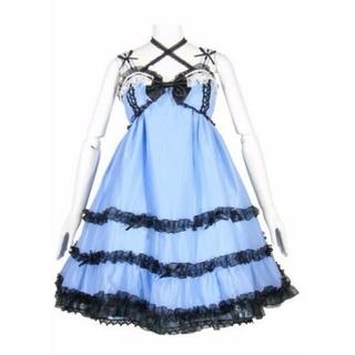 未使用アリスのティアドロップジャンパースカートふしぎの国のアリスサックス系水色
