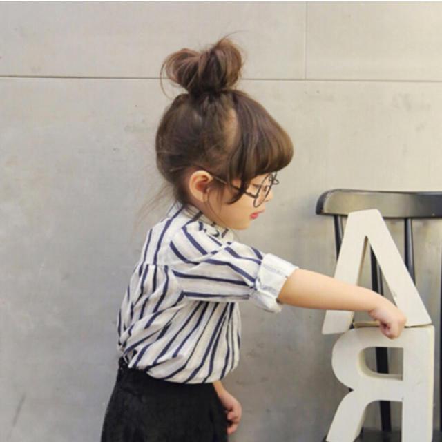 ストライプ シャツ ワンピース 130 キッズ/ベビー/マタニティのキッズ服 女の子用(90cm~)(ワンピース)の商品写真