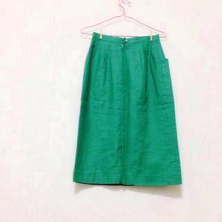 グリーン膝下スカート(ひざ丈スカート)