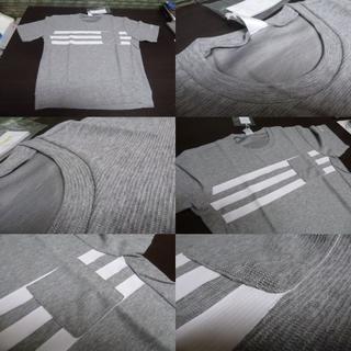 アディダス(adidas)のL 薄灰)アデイダス DKJ94 Tシャツ パイル調 丸首 半袖 柔らか(Tシャツ/カットソー(半袖/袖なし))