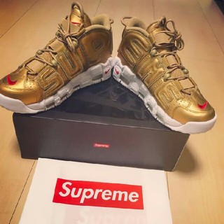 シュプリーム(Supreme)のSUPREME AIR MORE UPTEMPO(GOLD)  27.5cm(スニーカー)