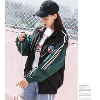 【大人気❤】韓国ラインパーカー ブルゾン Excellent Style 黒×緑(ブルゾン)