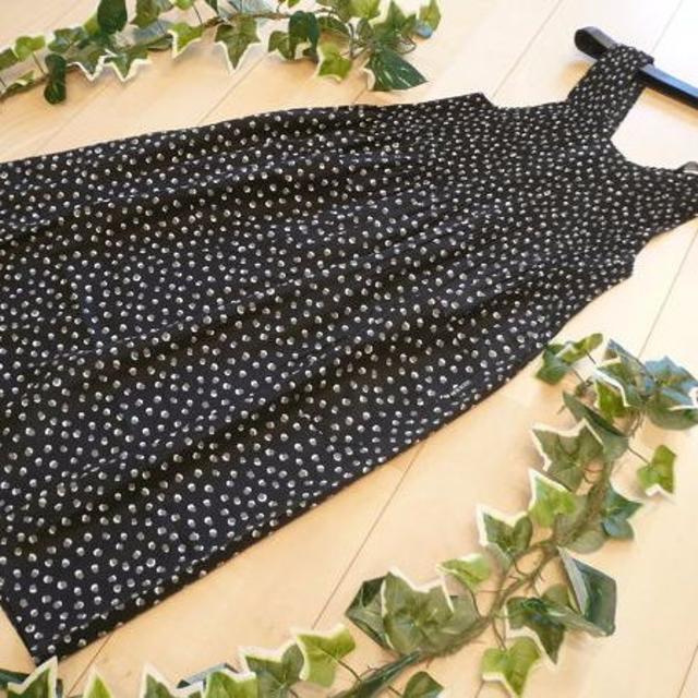 【新品】2582【L】ドット柄 ロング丈プリーツエプロン 黒 レディースのファッション小物(その他)の商品写真